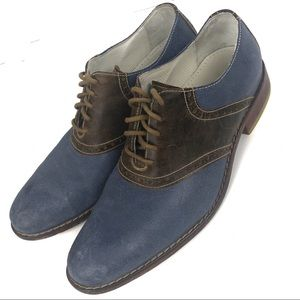 COLE HAAN blue and brown Colton Saddle Oxfords
